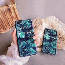 For Iphone 7 8 Plus 6s Glossy Green Leaf Phone Case For Iphone X XS 6 6s 7 7plus 8 8plus Black Leaf Text Soft TPU Cover Case(China)