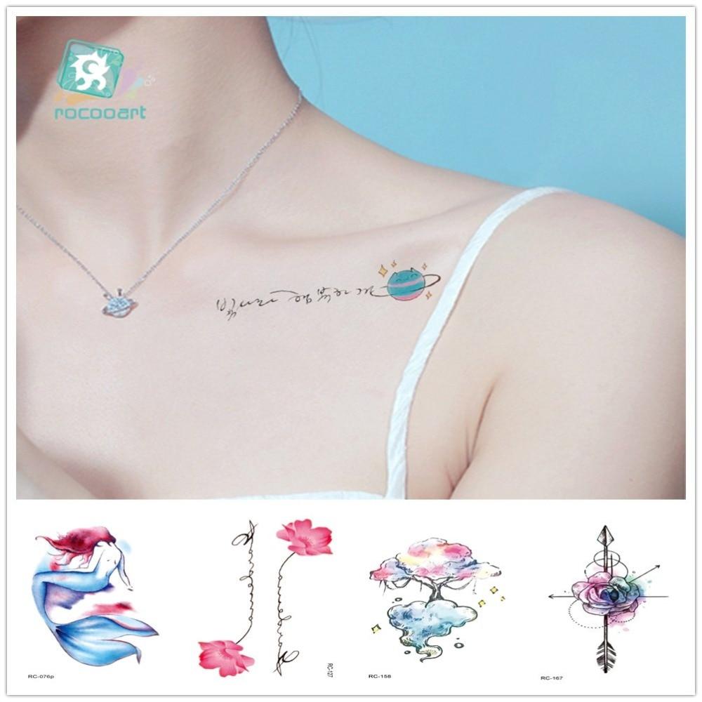 Rocooart Hand Tattoos Dreamcatcher Tattoo Stickers Arrow Flower Taty Body Art Tatuaje Temporal For Women Leg Flamingo Fake Tatto