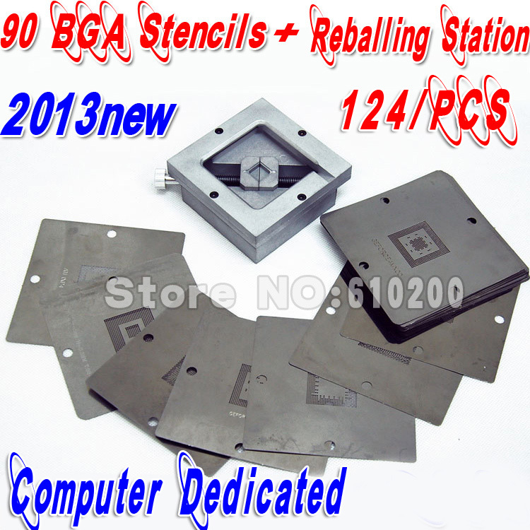 Freeshipping 2014 new Computer Chip Dedicated BGA 124/pcs 90*90 BGA stencils templates+BGA Reball Reballing Station Stencil Kit freeshipping 100% new intel 82801hbm ic chipset with bga stencil 90mm nh82801hbm
