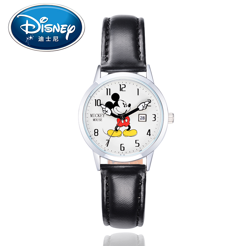 Disney Brand Mickey Mouse Women Watches Ladies Men leather Quartz Clocks Children Watches for girls boys Original Gift Box 100% genuine disney mickey mouse women quartz wrist watch with brand box packaging for 2016 birthday gift 30m feet waterproof