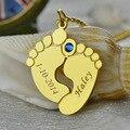 Nombre y Fecha de Los Pies Del Bebé Madre Collar de Oro al por mayor Joyería Birthstone Encanto Huella Celebración Para El Nuevo Bebé Nueva Madre