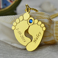 Wholesale Name & Date Baby Feet Mother Necklace Gold  Birthstone Footprint Charm Celebration For New Baby New Mother Jewelry