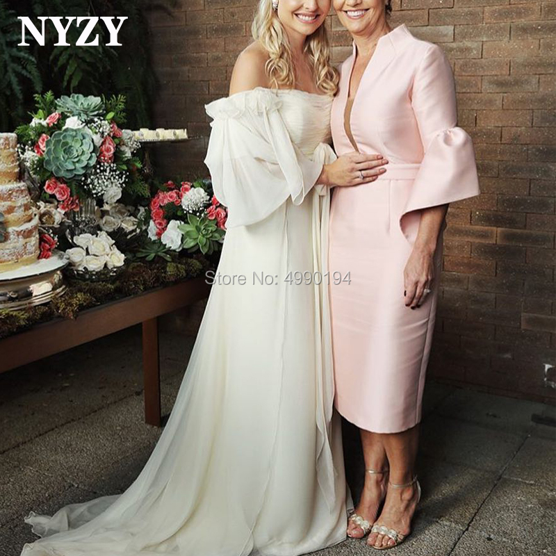 NYZY M157 Simple Wedding Party Dress Guest Wear Sheath Pink Satin Tea Length Mother Of The Bride Dresses Abiti Mamma Della Sposa