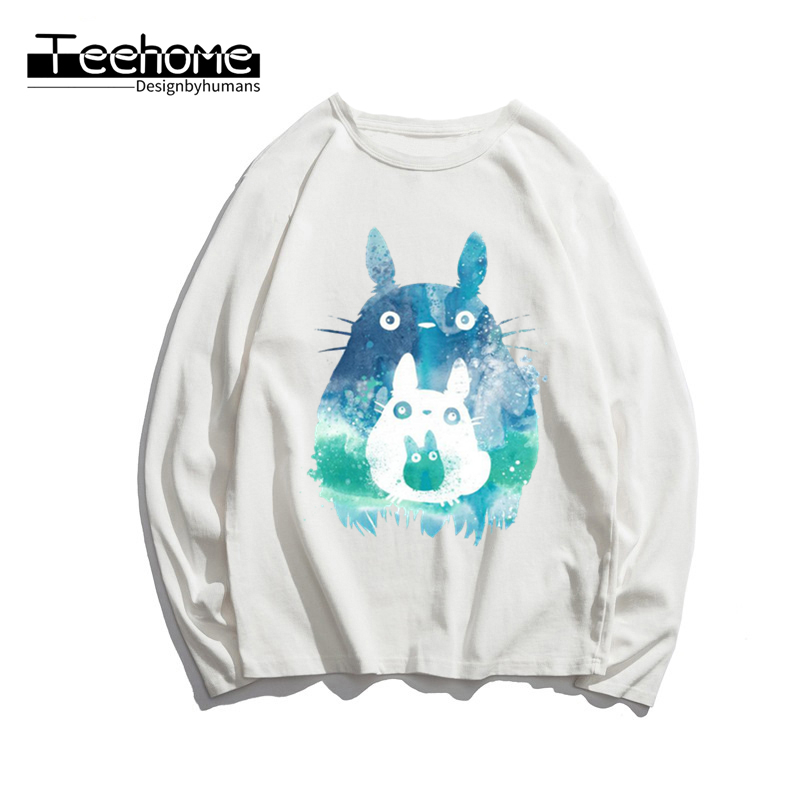 Men's Miyazaki Hayao Kawaii Totoro Print Long Sleeve Autumn Men and Women Full Sleeve Harajuku Anime T Shirt Winter Streetwear