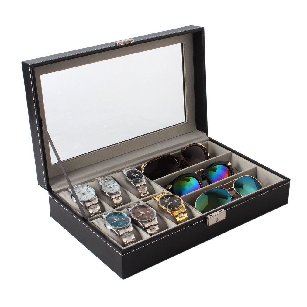 HOT 6+3 Grids PU Leather Watch jewelry Sunglasses Display Holder Storage Box Organizers Casket Jewelry Case Relogio Masculino moers 3tm relogio mj8010 3