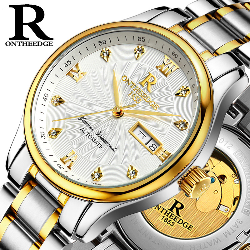 ONTHEEDGE man Wristwatches Automatic Mechanical business luxury mens watches stainless steel waterproof calendar luminous Week