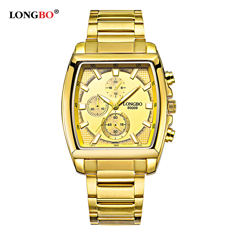 LONGBO Fashion Golden Quartz Watch Men Watches Military Luxury Brand Stainless Steel Wristwatch For Mens Male Clock Reloj Hombre fashion men mechanical hand wind watches men skeleton stainless steel wristwatches for male luxury golden watch men