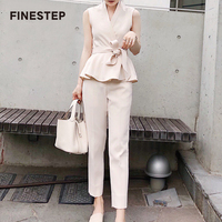 Two Piece Set Top and Pants 2018 Women Suits office Sets V Neck Two Piece Set Top and Pants Suit