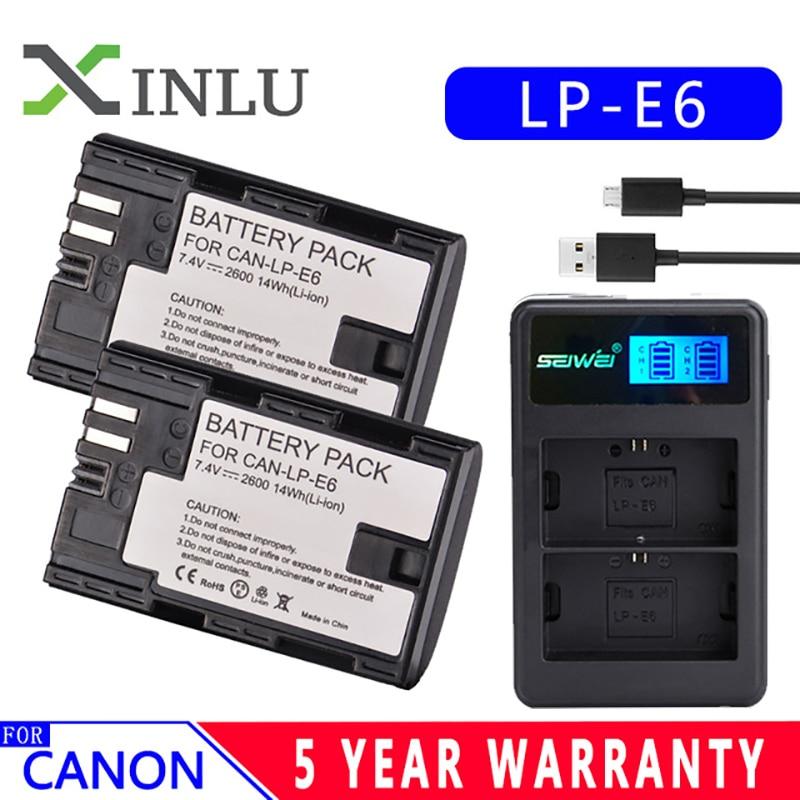 LP E6 LPE6 LP-E6 E6N Battery 2600mAh + LED Dual Charger For Canon EOS 5DS R 5D Mark II 5D Mark III 6D 7D 80D EOS 5DS R Camera