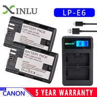 LP E6 LPE6 LP-E6 E6N batería 2600mAh LED cargador Dual para Canon EOS 5DS R 5D Mark II 5D Mark III 6D 7D 80D EOS 5DS R Cámara