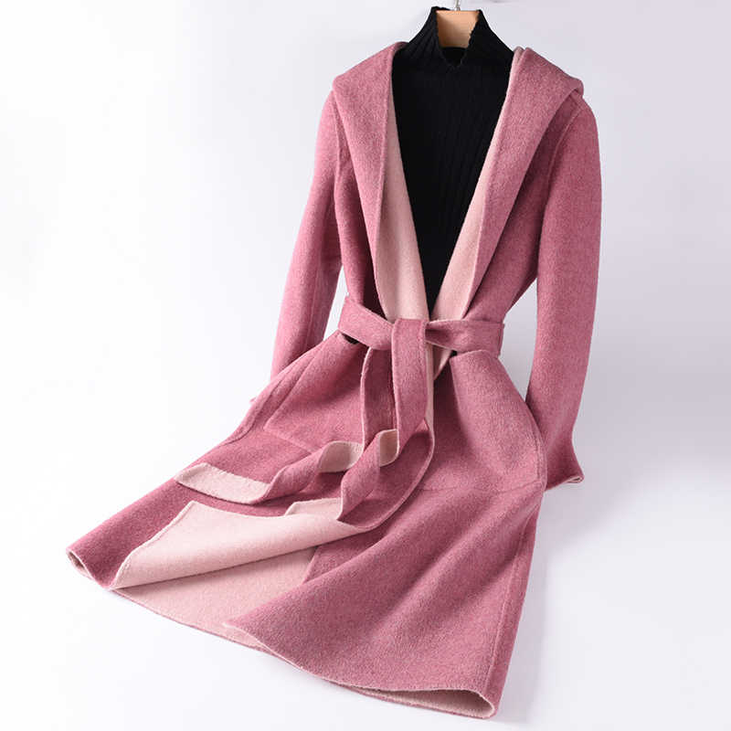 Cotton coat High Quality Woolen Winter Coat Women's Slim Wool Long Cashmere Coat Elegant Slim Cardigan Coat Hooded
