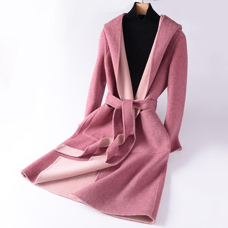 القطن معطف جودة عالية الصوف الشتاء معطف المرأة ضئيلة الصوف طويل معطف من قماش الكشمير أنيقة ضئيلة سترة معطف مقنعين-في صوف مختلط من ملابس نسائية على  مجموعة 1