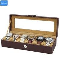 Braun Leder 6 Positionen Uhren Brust Box Zeit Magnetverschluss Fenster Lagerung Vitrine Alibaba Großhandel Verpackung Lieferant