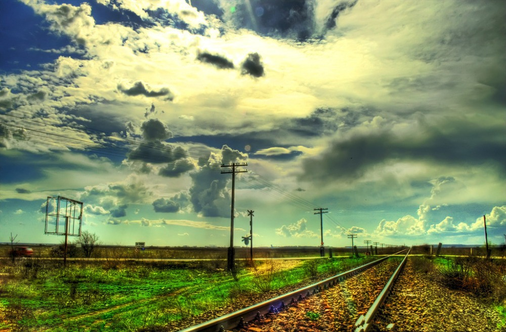 SHENGYONGBAO 7x5ft Art Cloth Custom Railway Theme Photography Backdrops Prop Photo Studio Background NTG-119