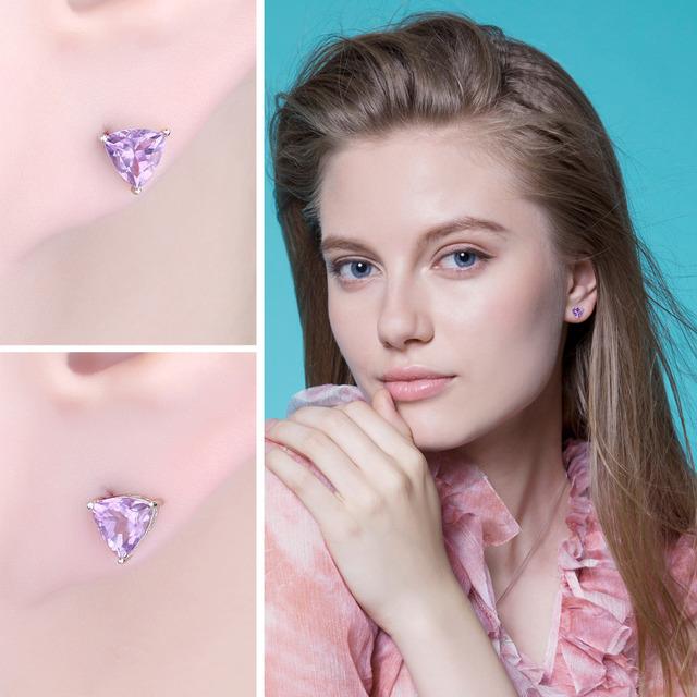 Natural Purple Amethyst Stud Earrings