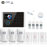 Wifi/GSM/4G GPRS Alarm System Wireless Infrared Smart Home Security Monitoring Host LCD Display/SOS/Cellphone Remote Control