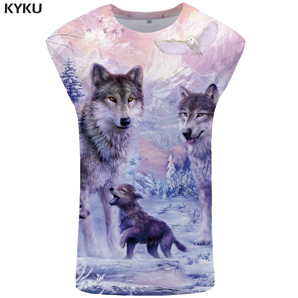 KYKU Wolf   Tank     Top   Men Love Vest Snow Stringer Mountain Undershirt Jungle Ftness Clothing Mens Bodybuilding Sleeveless Shirt