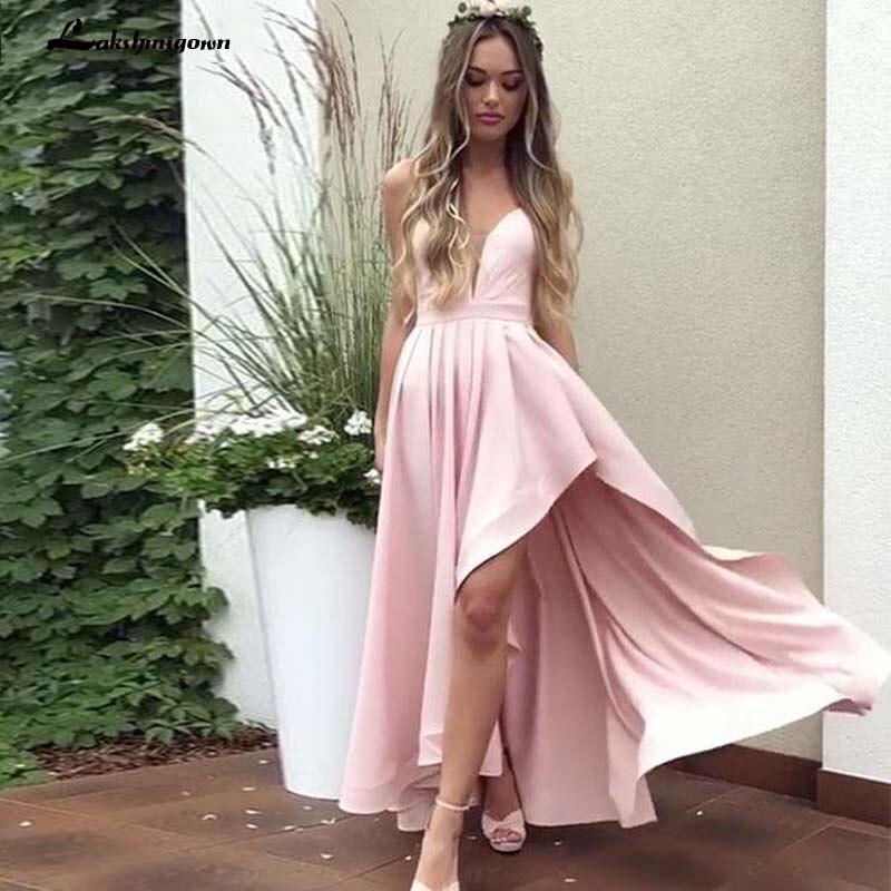 Bretelles Spaghetti haut bas robe rose robe de bal robe de soirée 2019 vestidos de graduacion
