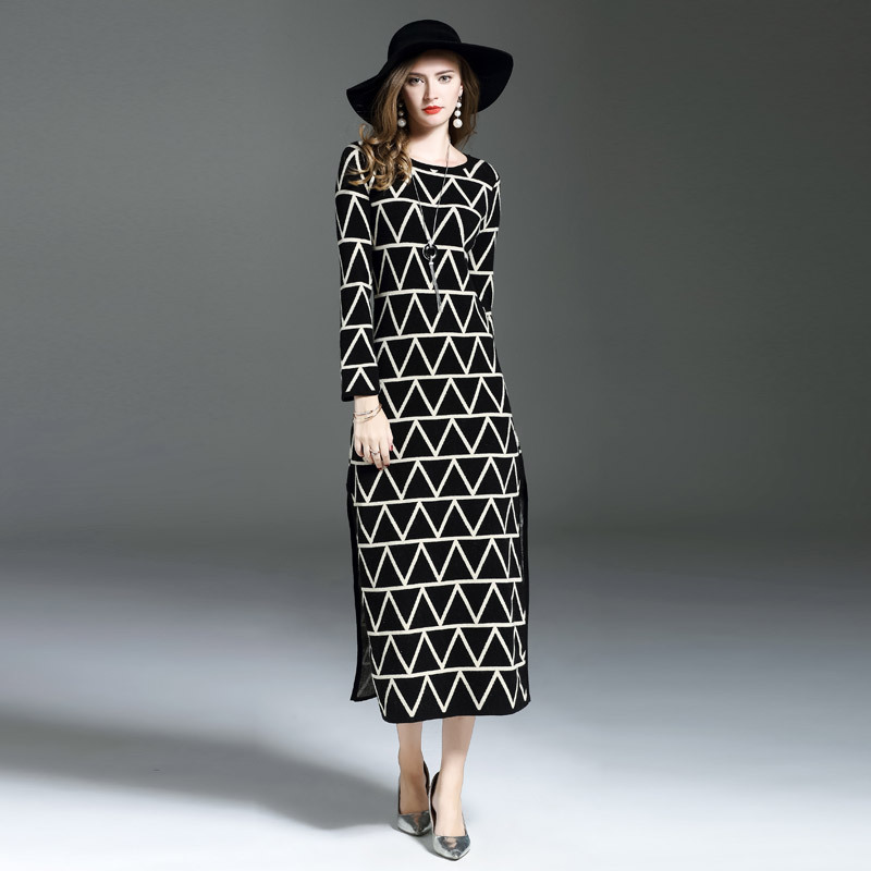 High Quality 2017 New Brand Fall Winter Long Sweater Dress Women's Fashion Long Sleeve Color Block Print Knitted Casual Dresses