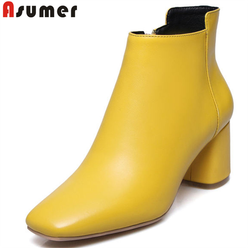 ASUMER black fashion square toe zip ankle boots thick heel high heeks genuine leather boots elegant prom boots women big size цена