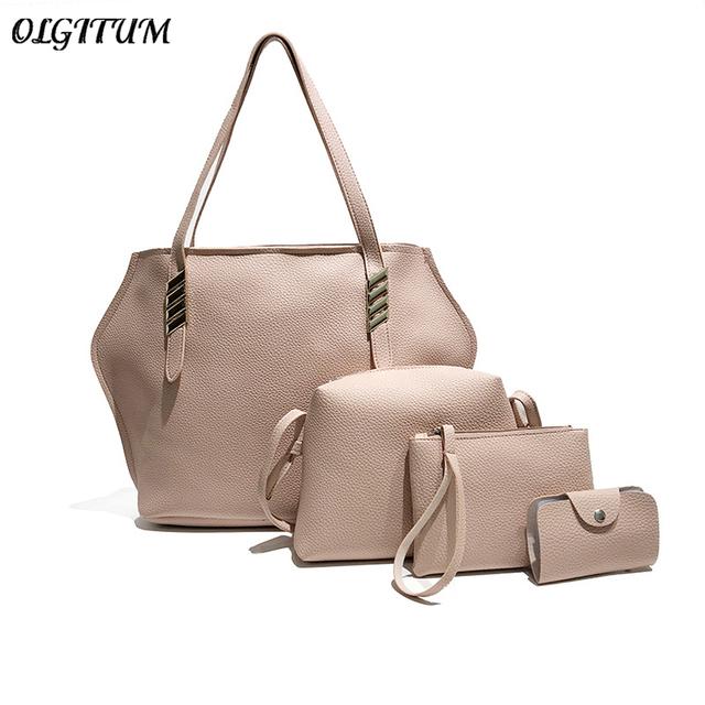 New Brand 4Pcs/Set Women Large Capacity Retro Handbag PU Leather Composite Bag Female Fashion Shoulder Crossbody Bag+Purse Sets