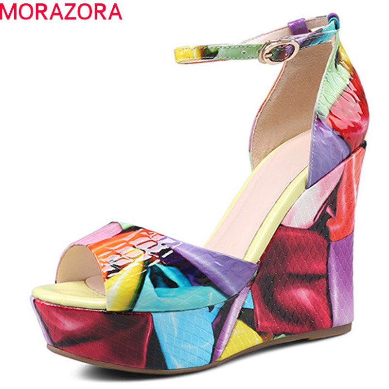 MORAZORA 2019 newest women sandals genuine leather shoes ankle buckle summer shoes elegant party wedges platform shoes woman MORAZORA 2019 newest women sandals genuine leather shoes ankle buckle summer shoes elegant party wedges platform shoes woman