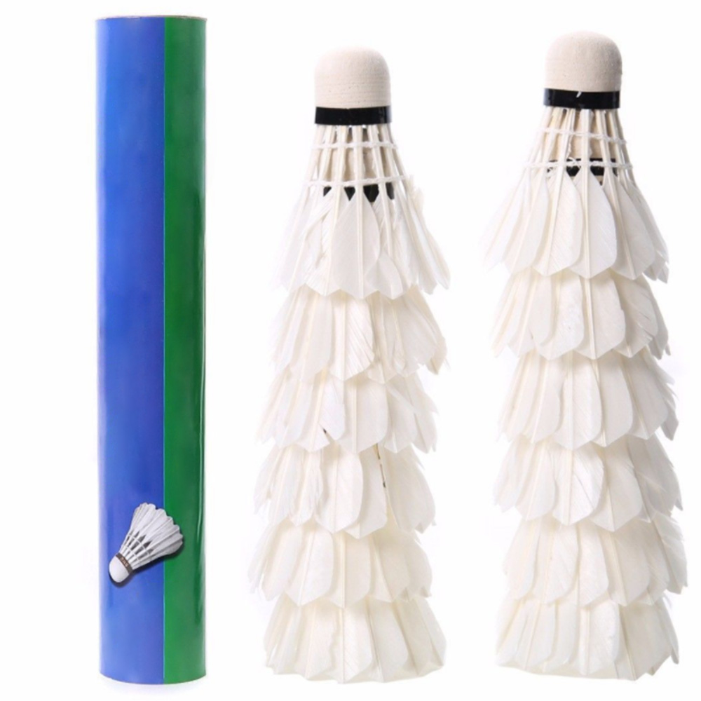 12 Pcs Durable Badminton Balls Goose Feather Shuttlecocks With Goose Feather White For Training Game Sport