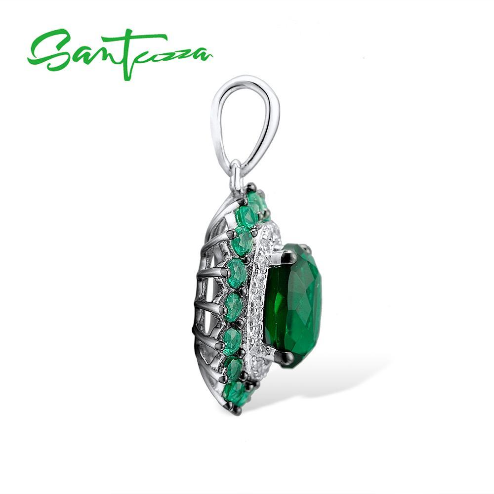 SANTUZZA, Серебряный кулон для женщин, чистый 925 пробы, серебро, роскошный сверкающий Овальный зеленый шпинель, трендовые вечерние подвески, хорошее ювелирное изделие
