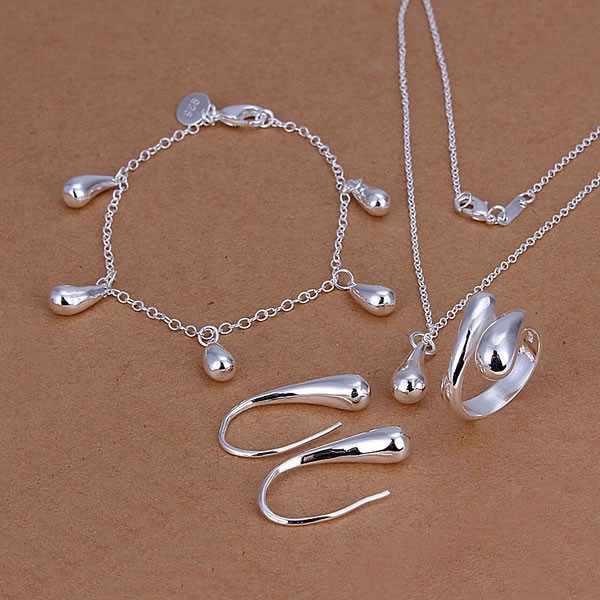מפעל מחיר באיכות גבוהה 925 תכשיטי כסף שרשרת צמיד טבעת עגילי SMTS223