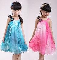 Free Shipping 2015 Fashion New Arrival Summer Girls Chiffon Dress Girls Gallus Beautiful Princess Dress 2