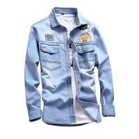 2018 New mens denim shirt 100% Cotton Male long sleeves shirt men fashion denim hombre jeans shirt