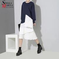 New 2018 Autumn Women Patchwork Design Blue Black Pleated Dress Long Sleeve Knee Length Girls Causal Street Wear Midi Dress 3847