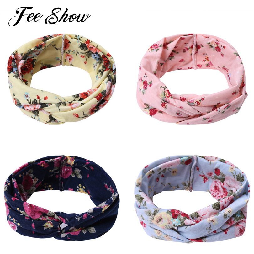 Set of 4 Fashion Women & Girls Elastic Turban Head Wrap Headband Floral Printed Twisted Hair Band Soft Stretchy Elastic Headband