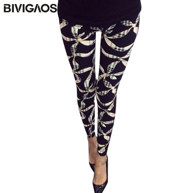 BIVIGAOS Nove ženske četke za cvijeće Cross Cross Plum Multicolor Visoko elastične hlače hlače Ženske hlače za noge Legging