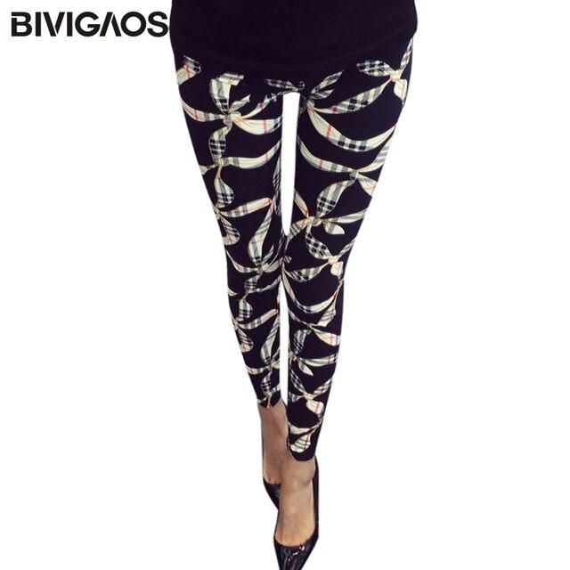 dc28f2b742867 BIVIGAOS New Women's BRUSHED Cross Plum Flowers Multicolor High Elastic  Leggings Pants Female Workout Legging Trousers Women