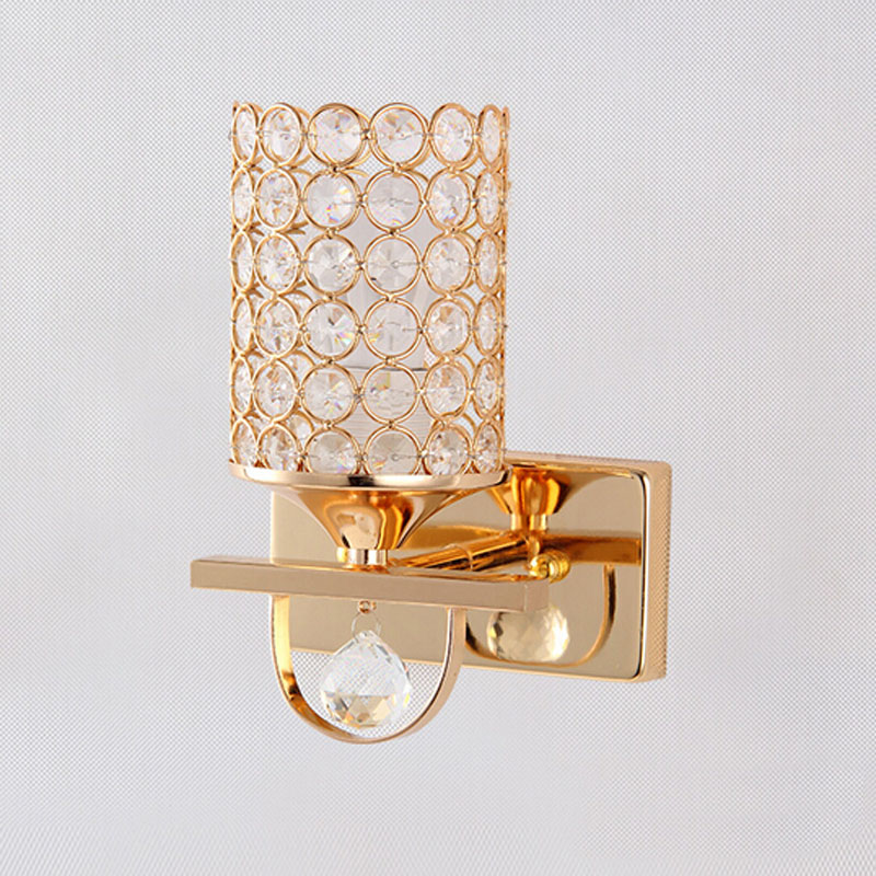 golden crystal led wall lamp/ The sitting room bedroom stairs corridor lighting European style home decoration wall light sconce brass buckle titanium plate gold crystal wall lamp k9 crystal sitting room bedroom mirror light