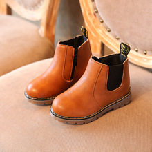 AFDSWG spring and autumn leather black low heel kids booties gray boots for girls brown children waterproof