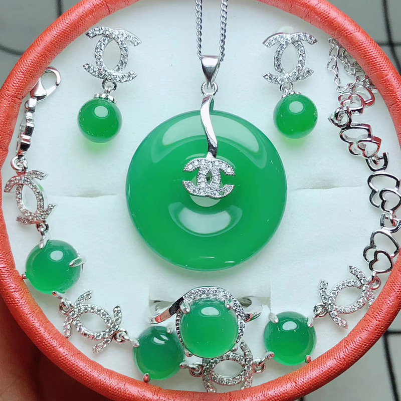 Yu Xin Yuan Fine Jewelry Natural Jade Medullary Jewelry Set Pendant Ring Earring Bracelet Women 925