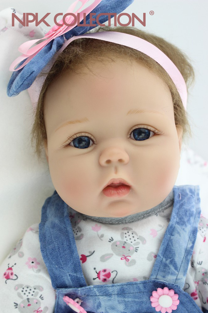NPKCOLLECTION Free shipping 55CM reborn baby doll lifelike soft silicone vinyl real gentle touch baby reborn