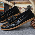 New Casual Top Real LeatherTie  Tassel Slip On Fashion Men Driving Moccasins Dress Shoes