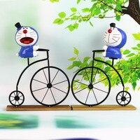 Cartoon Doraemon Ride A Bike Figure Gifts Resin Crafts Toys Japanese Cute Lovely Anime Home Decor