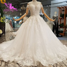 AIJINGYU Split White Muslim Lace Gowns For Wedding Dresses