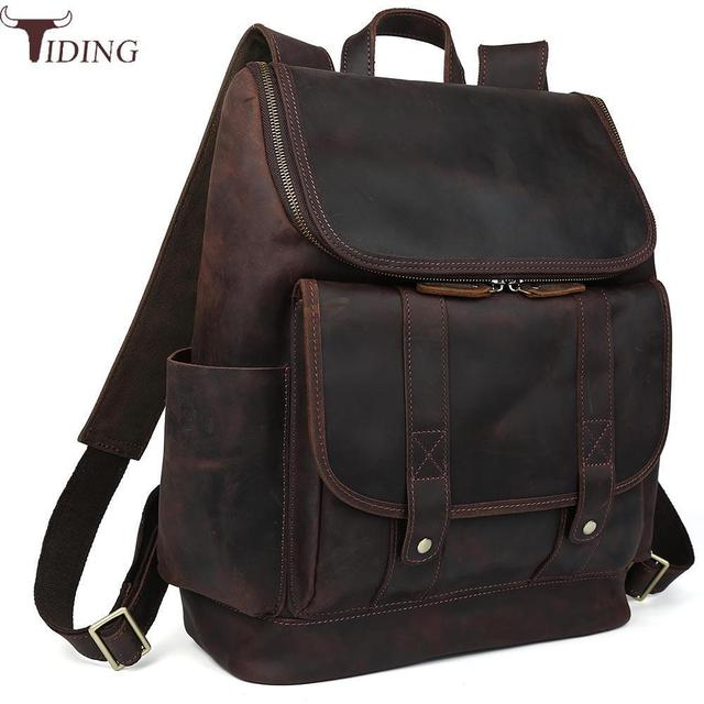 db34535083e0f tiding Luxury Cow Leather School Laptop Backpack For Men Rucksack Retro  Solid Overnight Weekender Bag Dark Brown Travel Bags