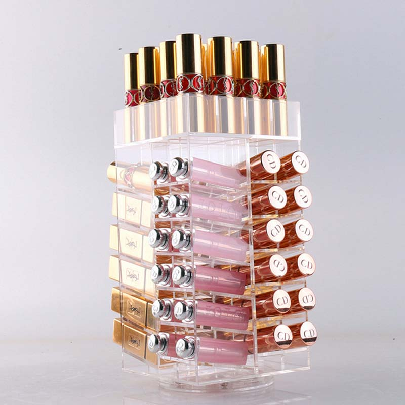 Transparent Acrylic Makeup Storage Box Rotate 360 Degrees Lipstick Lip Gloss Desktop Cosmetic Boxes Holder Makeup