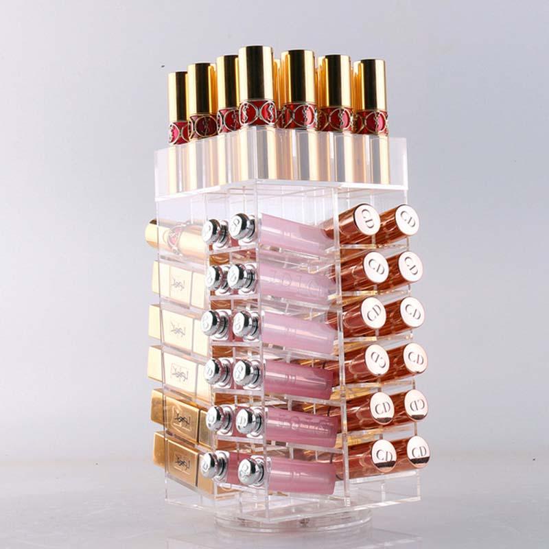 Transparent Acrylic Makeup Storage Box Rotate 360 Degrees Lipstick Lip Gloss Desktop Cosmetic Boxes Holder Makeup Case