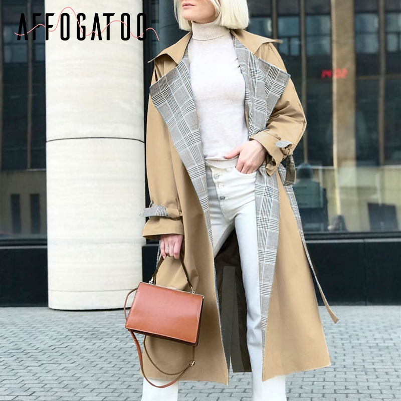 Affogatoo Casual Turn down collar women   trench   coat Elegant plaid sashes autumn winter long outwear Belt office ladies overcoats