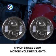 Фотография FOR Harley Motorcycle Dyna Fat Bob Daymaker Style Head Lights 4.5inch single low beam and single high beam FatBob Dual Headlamp