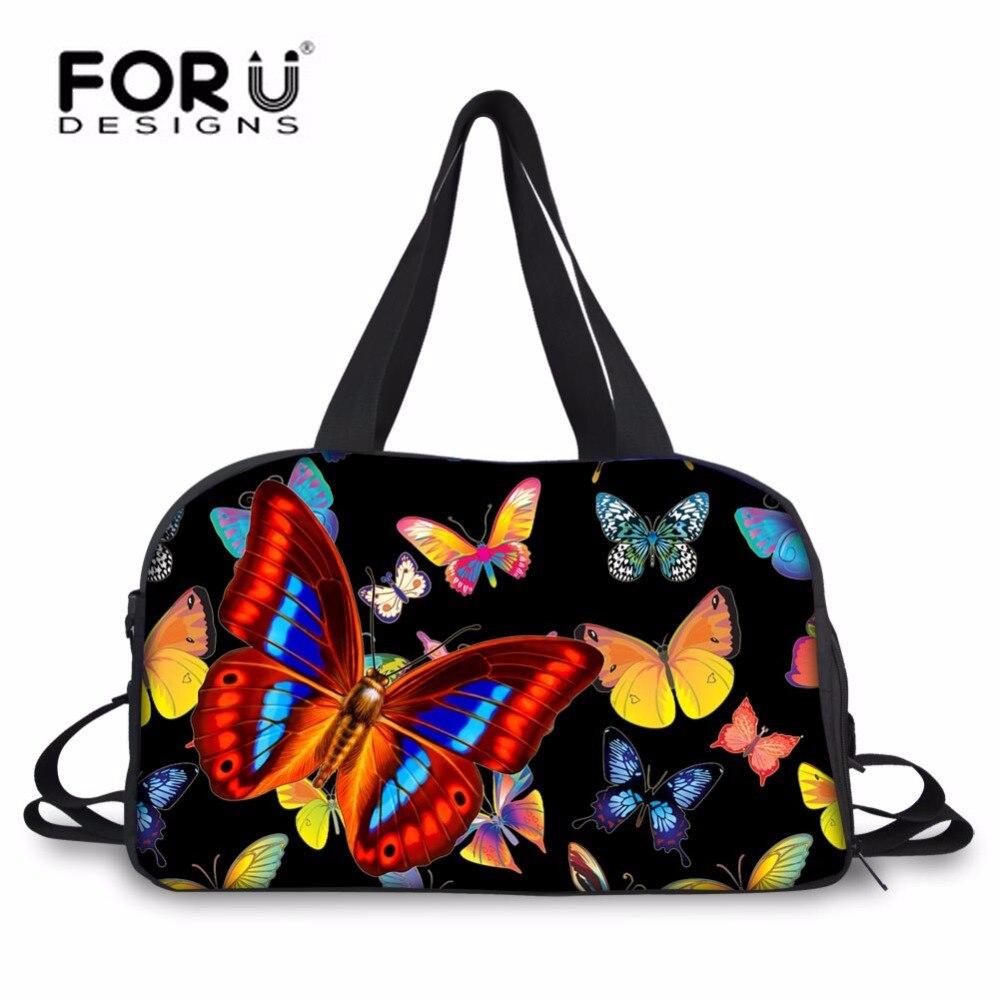 FORUDESIGNS noir papillon impression femmes sac de voyage, grande femme bagages sac de sport, week-end sacs pour femmes grand voyage sac à main
