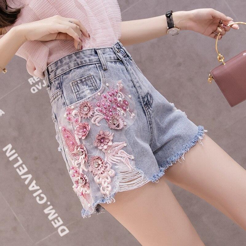 Женские джинсы летние новые тренды с дырками и цветочной вышивкой тонкие широкие брюки женские джинсовые шорты с высокой талией