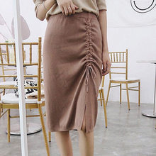 3eed44990ee Han edition fashion female skirts new step the draw string knit skirt move  the split elastic